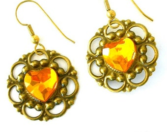 Topaz filigree earrings, faux rhinestone heart on antiqued bronze fancy setting
