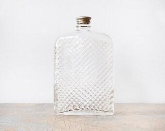 vintage 20s glass flask, large glass flask, 1927 universal art deco glass hip flask