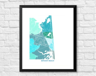 Bethany Beach Map Print.  Choose the Colors and Size.  Delaware Coast Wall Art.
