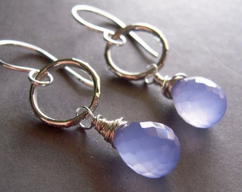 Purple Sterling Silver Earrings, Lavender Chalcedony Sterling Earrings, Handmade Wire Wrapped Dangle