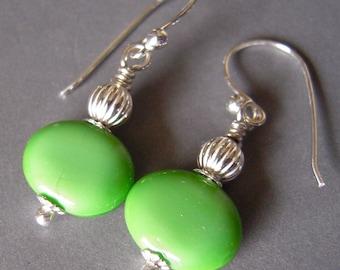 Green Czech Glass Drop Earrings, Sterling Silver Hand Made Dangle Small Earrings, Lime Green Glass Sterling