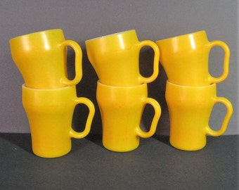 Set of 6 Yellow Fire King Soda Mugs, 60s Vintage Anchor Hocking Oven Proof USA, Coffee Cup D Handle, Mid Century Mod Kitchen Collectible #1