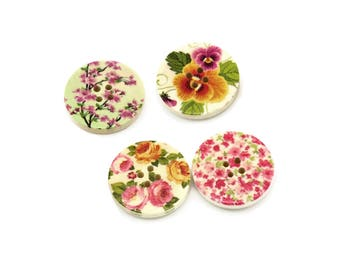 Spring Flowers wood sewing buttons - 4 Mixed Patterns craft buttons (BB1005C)