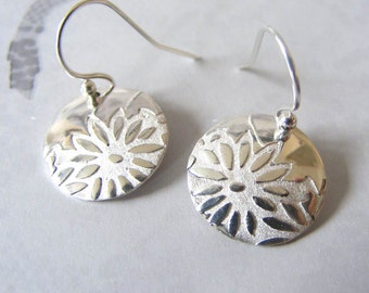 Fine Silver Daisy Print Earrings