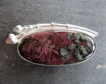 Brooch/Necklace with Eudialite and Cast Dogwood Twig in Sterling Silver