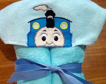 Blue Train Hooded Towel, Towel with Hood