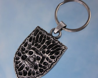 Demon Shield Keychain - Large detailed antiqued silver shield pendant with skull and flames - Tribal keyring - Free shipping in USA