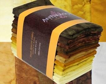 12 Fat Quarter Batik Bundle - Golden Brown
