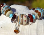 Reserve for Patrice-UPTOWN SANTA FE- Handmade Lampwork, Turquoise and Sterling Silver Bracelet