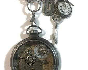 Altered Art Pocket watch Pendant, Steampunk, Vintage, Boho style