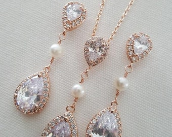 Rose Gold Bridal Jewelry Set,  CZ Bridal Earrings, Wedding Jewelry, Bridal Necklace & Earrings