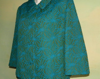 XL XXL 60s Plus Size Skirt Suit Green and Blue Brocade Textured Polyester Print Mad Men Style Lincoln Corner