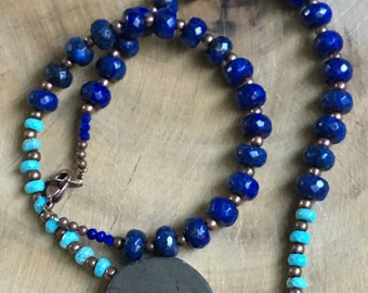 SALE!!  Lapis, turquoise, and pyrite necklace with copper spacer beads.  Reg 50.00 sale 35.00.