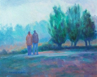 Misty Morning Trail, Couple Together, Original Oil Painting, Early Morning Fog, Misty Trees, Bluegreen colors, Impressionist Landscape, 10x8