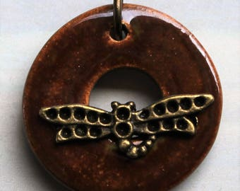 Brown and Bronze Dragonfly - Jewelry Clasp - Circle Ceramic Toggle Clasp