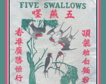 Vintage 1950-FIVE SWALLOWS BURLAP Rice Bag-Birds-Chinese Script-Green-Pink-Black Colors-Measures 31 x 16-Very Good Vintage Condition-Rare