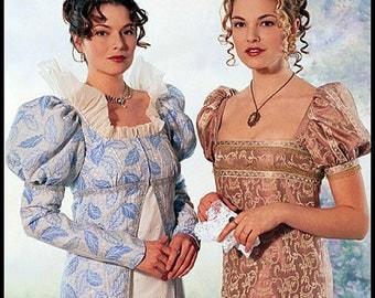 EMPIRE-REGENCY ERA-Elegant Ensemble Historical Sewing Pattern- Empire Waist Gown-Matching Long Coat-Andalusian Sleeves-Uncut-Size 6-10-Rare