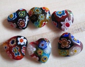 Glass millefiori heart beads, venetian style