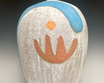 Orange Flower With Sun Dot; Large Stoneware Vessel; Functional Fine Art