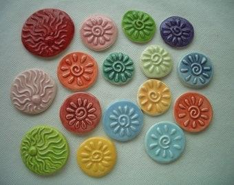 B16 - SWIRLY SUNS - Ceramic Mosaic Tiles