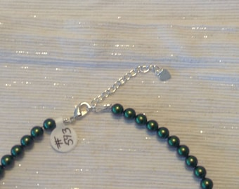 """19"""" Swarovski Scarabus Green Pearl Necklace with 2"""" Sterling Silver Flat Heart Extender."""