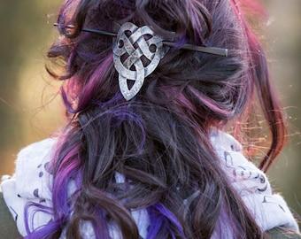 Leather Celtic Trinity Knot Hair Barrette