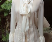 Vintage sheer polyester beige tie neck blouse with camisole, tucked tie neck blouse ruffled sleeve, classic feminine beige sheer blouse sz S