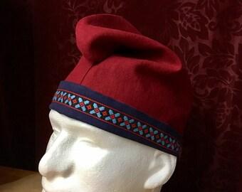 Mens Phrygian Cap in Scarlet Red and Navy Blue linen Medieval hat-SCA Ren Garb -Fully Reversible