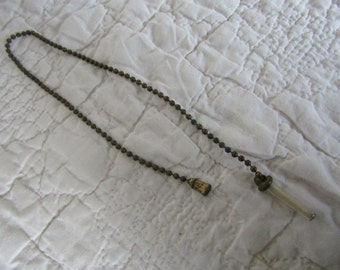 Vintage Brass Ball Pull Chain with Glass cylinder on the end