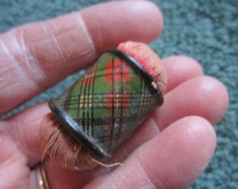 Antique Tartan Ware Cornel Pin Cushion Needle Emery Sewing Collectible