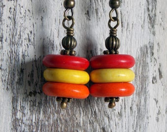 Colorful Wood Earrings Simple Light Minimalist Red Yellow Orange Wood Disk Earrings Summer Jewelry Woodland Hippie Earthy Earrings