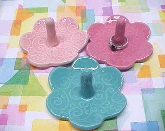 Ceramic Ring Holder Dish / Bridesmaid Gift / Choose Your Color / Blossom Shape / Pottery Jewelry Tray / Orange / Bridal White / Baby Blue