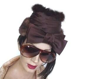 Sale 40s Fur Hat / Vintage Tilt Hat / Fur Hat Perch Hat