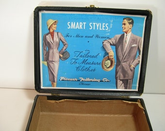 Vintage Salesman Suitcase with Advertising Art, Pioneer Tailoring Co. Smart Styles