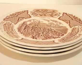 Alfred Meakin Brown Fair Winds Dessert Plates, Set of Four
