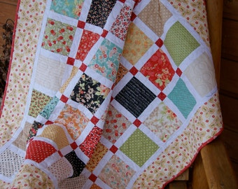 Quilt Baby Toddler Nursery Bedding Chestnut Street Fig Tree Quilts Patchwork Squares Red Yellow Crib Cot Bright Lattice piecesofpine
