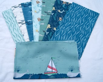 Tales of the Sea Fat Quarter Bundle Lewis & Irene Sailboat Mermaids Whales Water Blue Children Boy Quilting Sewing Ocean piecesofpine