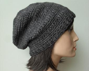 Hemp Wool Slouchy Hat Tam crochet slouchy hat tam handmade unisex men women Dark Grey Gray made to order