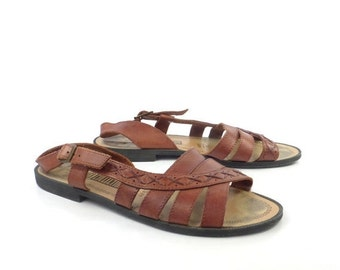 Brown Woven Sandals Vintage 1980s Leather Huaraches Women's size 8 1/2