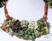 Succulent Bib Necklace - OOAK Handmade Polymer Clay Statement Necklace