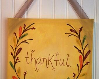 Thankful Canvas painting Autumn Original primitive folk art Fall leaves berries Home decor Wall artwork 11 x 14 Thanksgiving Hand painted