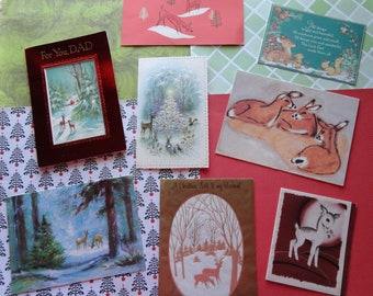 Deer Up Close and Far Away in Vintage Christmas Lot No 1068 Total of 8 Modern Artistic View Too