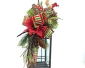 ON SALE Rustic Christmas Lantern Swag in Red and Green with Poinsettia, Christmas Lantern Swag, Lantern Swag, Red & Green Lantern Swag, Xmas