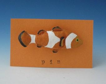 Clown fish Pin, Fiber Art Fish, Folk Art Clown fish
