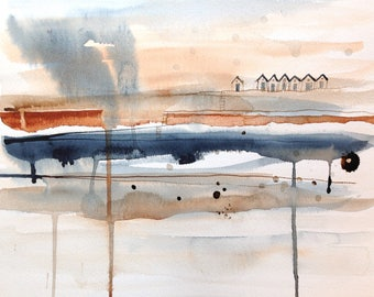 original watercolor painting - abstract with beach huts and rain - indigo and copper