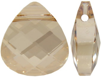 Large Swarovski 6012 Flat briolette in golden shadow - 15.4x14mm - Swarovski pendant - gold crystal