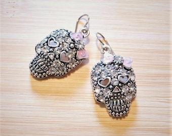 Skull Heart Bow Rhinestone Charm Earrings Pink Silver