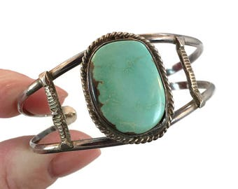 Turquoise Cuff, Sterling Silver, Vintage Bracelet, Turquoise Bracelet, Small Wrist, Handcrafted, 1970s, 70s, Robin's Egg Blue Stone, Boho