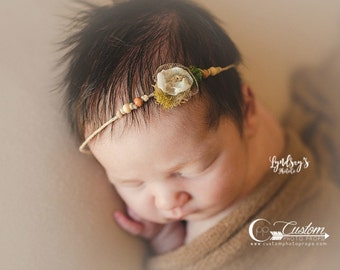 Aura Natural Flower Hemp Headband for Baby Girls, Newborn Tie Back Headband Photo Props, Newborn Baby Props, Custom Photo Props