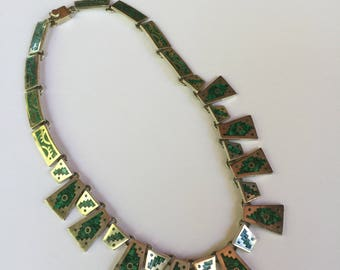 Vintage Turquoise and Sterling Necklace made in Mexico